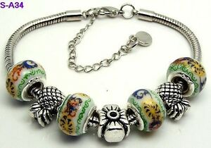 Murano Glass Beads Bangle Bracelet Anklet 11 inches.925 Silver Plated