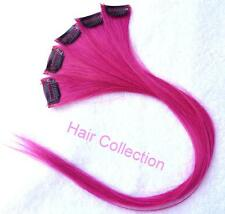"18""Hot Pink Human Hair Clip On Extensions(5pcs) for Highlights"