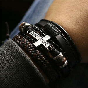 3 Pcs/Set Leather Bracelets Bangles For Men Women Wood Beads Feather Fashion