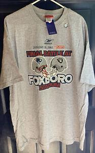 Vtg NOS Patriots vs Raiders Final Battle Foxboro Stadium Snow Bowl T Shirt WOW👀