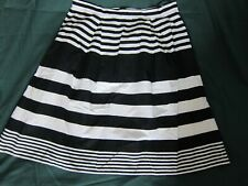 Black and white strippy knee lenght A line cotton skirt size 16
