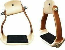 Showman Lightweight Angled Copper Colored Aluminum Leather Tread Stirrups