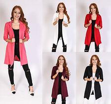Women Ladies Long Open Boyfriend Blazer Plain Full Sleeve Jacket Coat 8-14 UK