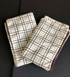 Columbia Brown Plaid with Border Pillowcases Pair Used