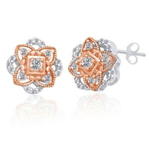 1/4 ct Diamond Rosette Stud Earrings in Sterling Silver & 14K Rose Gold -IGI-