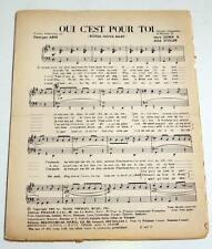 Partition sheet music LARRY GRECO : Oui c'est Pour Toi * 60's ELVIS PRESLEY