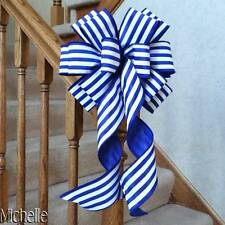 "10"" WIDE BLUE SPRING BOW WITH WHITE STRIPES~FOR GIFTS, PARTY DECORATIONS, EASTER"