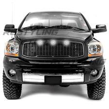 06-09 Dodge RAM Raptor Style Matte Black Front Hood Mesh Grille+Shell+White LED