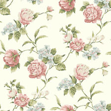 97061 Gleason Floral Rose Trail Wallpaper, White