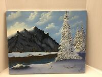 Signed Acrylic Painting Winter Mountains Trees And Lake Jl062517AA001