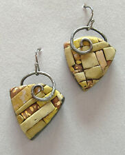 Bamboo Triangle Earrings Green Mosaic Polymer Handmade Pierced Unique New Gift