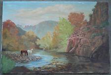 Lola Ades, LISTED, vintage landscape Horses along river, California Art, signed