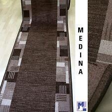 moderner Velours Teppich Läufer *MEDINA 44 braun  100 cm breit NEU rutschfest
