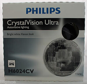 NEW PHILIPS CRYSTAL VISION ULTRA HALOGEN HEADLIGHT H6024CV 12V XENON LAMP ROUND