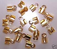 20 GOLD NECKLACE CORD ENDS CRAFT JEWELLERY FINDINGS