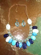 NECKLACE EARRING SET LARGE BEADS COBALT TURQUOISE BABY BLUES on GOLD TONE METAL