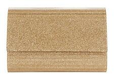 NWT Diane Von Furstenberg Twilight Gold Glitter Acrylic Leather Crossbody Clutch