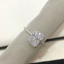 Halo 3.86 Ct Near White Radiant Moissanite Engagement Ring 925 Sterling Silver