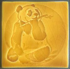 Handmade tile, Panda design - Honey colour glaze, made in  U.K.