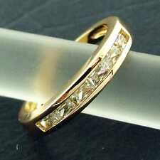 RING GENUINE REAL 18K YELLOW G/F GOLD LADIES DIAMOND SIMULATED ETERNITY DESIGN