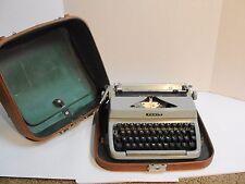 Vintage FACIT CURSIVE TYPE Manual Portable Typewriter Light Green w/ Case