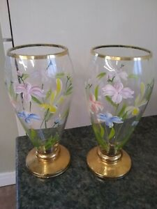 Pair of Hand Painted Glass Vases  with stems- Various colour flowers