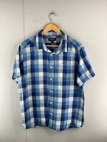 Just Jeans Men's Short Sleeved Button Up Shirt Size XL Blue Check