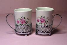 2 x Vintage Pink Rose Demitasse COFFEE CUPS Porcelain Wedgwood Chrome  SirH70