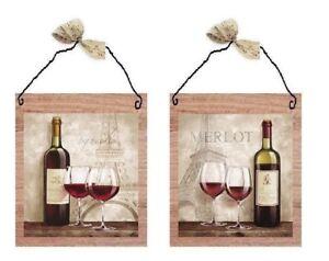 💗 Paris Style Wine Pictures Merlot Kitchen Wall Hangings Decor Plaques