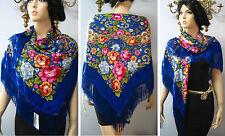 """Russian Ukrainian Gypsy Shawl Floral w/Fringes 49""""/125cm  Blue  80%Wool NWT #98d"""