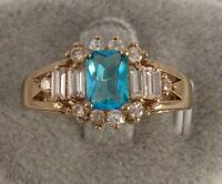 Vintage Jewellery Gold Ring London Blue Topaz White Sapphires Antique Jewelry 9