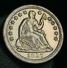 1857 O Seated Liberty Half Dime 5C High Grade AU-MS Crain US Silver Coin CC2895