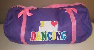 I LOVE DANCING DUFFEL BAG Zipper Fabric Bows Tote Purple Girl Child Tween Dancer