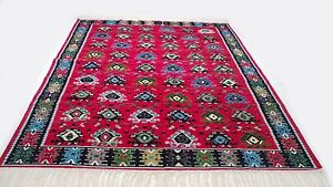 """Antique vintage tribal handmade hand-knotted soft rug 80"""" x 120""""  pure wool  #35"""