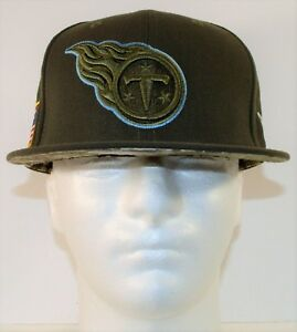 New Era Tennessee Titans 2017 Salute To Service 59FIFTY Fitted Hat Sz 7 1/8 NEW
