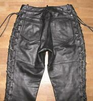 """ Hoko "" Lace-Up Leather Jeans / Biker Trousers IN Black Approx. W30 "" / L31 """