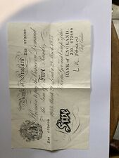 More details for bank of england white five 5 pound note 1955 banknote