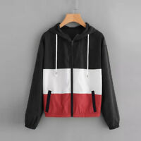 Fashion Women Jacket Coat Hooded Thin Windbreaker Zip Up Long Sleeve Tops Jumper