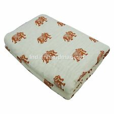 White Elephant Print Pure 100% Cotton Filled Kantha Quilt Queen Size Jaipuri
