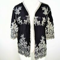 Shoreline Womens Plus Open Front Floral Embroidered Cardigan Size 4XL Black NWT