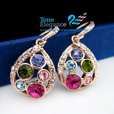 18k 18ct gold GF solid teardrop dangle earrings made with swarovski crystal