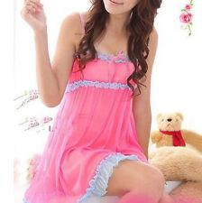 Women Lace lingerie Sleepwear Nightwear+G-string Babydoll Nightdress 2 COLOR