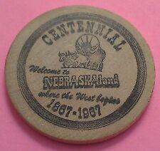 NEBRASKA LAND ~ WOODEN NICKEL ~ CENTENNIAL 1867-1967 ~ WHERE THE WEST BEGINS!