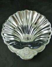 Vintage Silver Metal Silverplate? Scallop Clam Shell Serving Dish Lion Crest