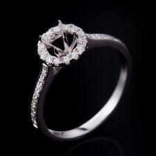 Natural Diamond Semi Mount Wedding Ring Setting Round 5.0mm Solid 14K White Gold