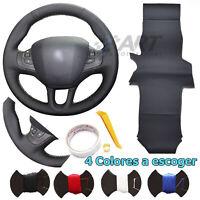Funda de volante a medida para Peugeot 208 2008 en cuero negro liso + perforado