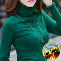 Winter Cheap Turtleneck Lined Women's long sleeve Slim fit Thermal Pullover tops