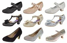 Kids Girls Mary Jane Party Shoes Diamante Glitter Bridesmaids Heels Size UK 9-3