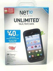 Net 10 ZTE Savvy Cell Phone Black ZTE Z750C NEW