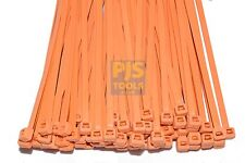 100 x Orange 300mm x 4.8mm nylon 66 material cable zip ties in poly bag